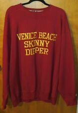 Venice Beach Skinny Dipper Embroidered Men's Burgundy Sweatshirt XLT