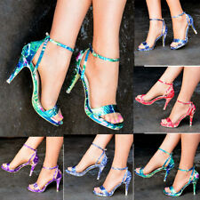 Stiletto Strappy, Ankle Straps Floral Heels for Women