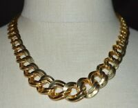 MONET Chain Link Graduated Choker Gold Tone Vintage Necklace