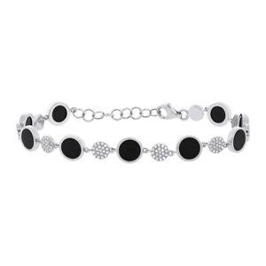 Womens 4.02 TCW 14k White Gold Natural Black Onyx Disc Diamond Pave Bracelet