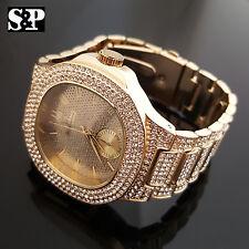 Men's Luxury Urban Style Bling Gold finished Simulated Diamond Bracelet Watch