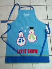 """New listing Christmas Apron Snowman """"Let is snow"""" 36""""H x 26"""" W"""