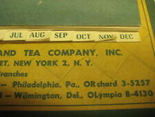 Vintage 1961 Adelphia Lincoln Coffee and Tea Company Weekly Memo Calendar New