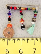 Native American Sterling Silver Beaded Turquoise Lapel HAND-MADE