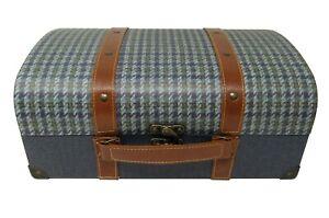Punch Studio Decorative Keepsake Vintage Case Chest Box Blue Gingham 24988 med