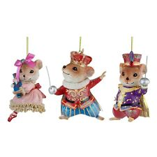 Nutcracker Fairytale Set of 3 Mice Hanging Christmas Tree Decorations
