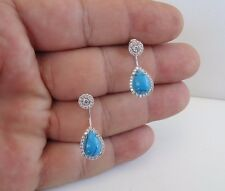 HANGING TURQUOISE EARRINGS W/ TURQUOISE & LAB DIAMONDS/ 925 STERLING SILVER