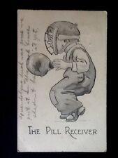 "c1913 ""The Pill Receiver"" Baseball Theme Greetings Vintage Postcard"