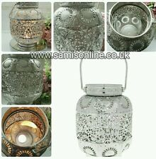 Moroccan Arabian Indian Silver Cut Out Ornate Vintage Lantern Candle Holder Rare