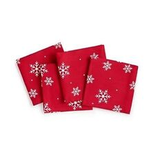 THE CELLAR 10 in x 10 in Set of 4 Cocktail Napkins Snowflake Pattern NEW