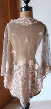 Vêtement ancien  Grand chale en tulle - couleur vieux rose - 1930