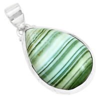 925 Sterling Silver 18.15cts Natural Green Opal Pear Pendant Jewelry P42940