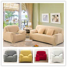 Solid Elastic Slipcover 1 2 3 4 Seater Stretch Chair Loveseat Sofa Couch Cover