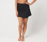 Denim & Co. Beach Swim Skirt with Asymmetric Front Slit,Black,Size 8,NEW