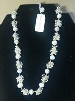 Ann Taylor Silver Tone Beading & Pearl Necklace $48.00 Retail