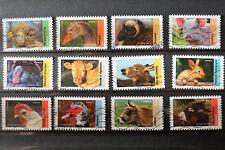 Lot de 12 timbres oblitérés FRANCE 2017 Animaux d'élevage