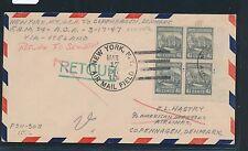 01677) USA AOA FF New York AMF - (via Iceland) - Kopenhagen 17.3.47