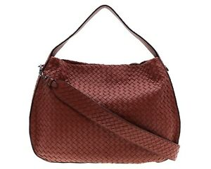 Bottega Veneta Shoulder Bag Large Hobo Intrecciato Red Leather New $3750