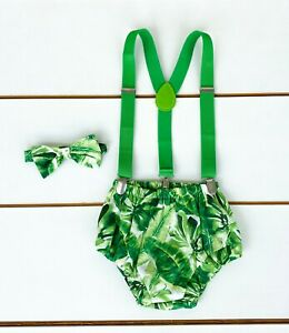 Palm Leaf Cake Smash Outfit - First Birthday Outfit Baby Boy Safari Jungle