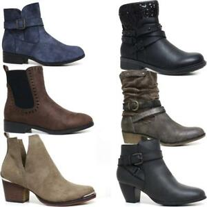 Ladies Chelsea Boots New Womens Block Heel Formal Ankle Biker Riding Boots Shoes
