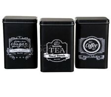 BLACK RETRO 3PC TEA COFFEE SUGAR KITCHEN STORAGE CANISTERS JAR TIN SET CANISTER