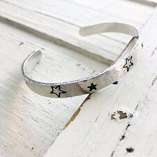 Handstamped Aluminium Star Motif Cuff Bangle Gift Handmade