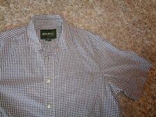 Men's short sleeve button-front shirt by Eddie Bauer Size L Brown