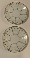 Set Lot of 2 Dessert Salad Plates CWS Windsor China Green Gold Markings EUC