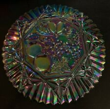 Vintage INDIANA carnival Glass Plate Extremely Iridescent Fruit Pattern Serving