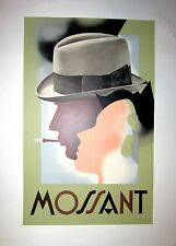 "Vintage French Cigarette ""Mossant"" Poster on Linen"