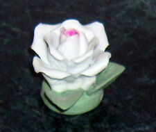 Vintage Ceramic White Rose Flower Pink Center Green Leaves Small Decoration Old