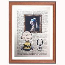 Charlie Brown e SNOOPY VS Johannes Vermeer-DIZIONARIO Art Print orecchino di perla