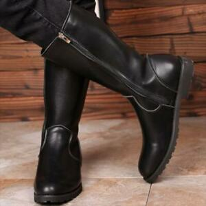 Mens Punk PU leather Side Zip military Casual Combat Rain Mid-calf Boots Riding