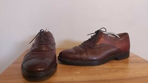 Clarks Extra Wide Brown Leather Capped Oxford Semi-Brogues - UK 10