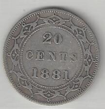 NEWFOUNDLAND,  CANADA, 1881,  20 CENTS,  SILVER,  KM#4,  FINE-VERY FINE