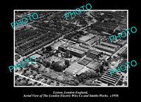 OLD POSTCARD SIZE PHOTO LEYTON LONDON ENGLAND DISTRICT AERIAL VIEW c1950