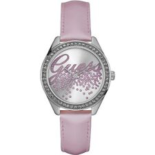 GUESS Women's 36mm Leather Pink Belt Stainless Steel Watch U0161L4
