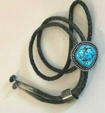 Vintage Bennett Southwest TURQUOISE Stone Leather Bolo Tie Silver 2 Slides