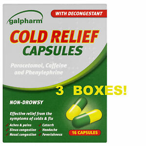 GALPHARM COLD RELIEF CAPSULES - NON-DROWSY WITH DECONGESTANT - COLD & FLU RELIEF
