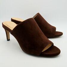 Clarks Ladies Shoes Sandals Size 5 38 Brown Suede Mules Peep Toe Kitten Heels