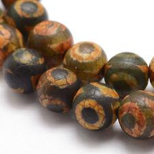 Tibet DZI Achat Buddha Perlen 8mm Natur Edelstein Rund Tibetanischer Beads G793