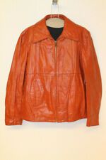 MENS SEARS VINTAGE PUMPKIN ORANGE LEATHER PILOT FLIGHT JACKET SZ 42 TALL