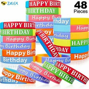 48 Pieces Happy Birthday Rubber Bracelets Silicone Stretch Wristbands Colored Si