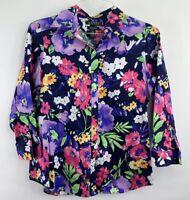LRL Ralph Lauren Women Button Navy Floral Bold Blouse Vivid MultiColor Sz Medium