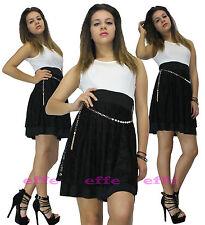 Vestito donna miniabito svasato ondeggiante gonna ricamo pizzo Made in Italy 612