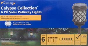 "6 Malibu SOLAR ""CALYPSO"" LED Path Lights - Gun Metal Gray - NEW"