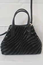 COLE HAAN GENEVIEVE WOVEN BLACK PATENT LEATHER SATCHEL SMALL TRI-ANGLE BAG MINT!