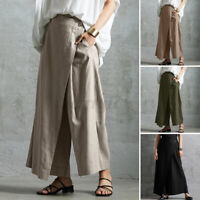 ZANZEA Women Wide Leg Pants Plain Basic Wrap Front Culotte Solid Cotton Trousers
