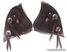 D.A. Brand Dark Brown Hand Tooled Basketweave Monkey Nose Tapederos Horse Tack