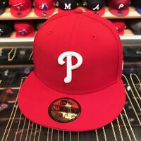 "New Era Philadelphia Phillies Fitted Hat All Red/White ""P"""